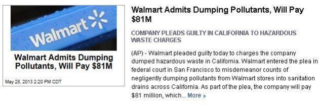 Walmart Admits Dumping Pollutants